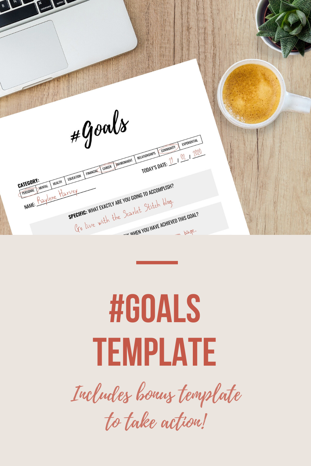 #Goals Template | Scarlet Stitch