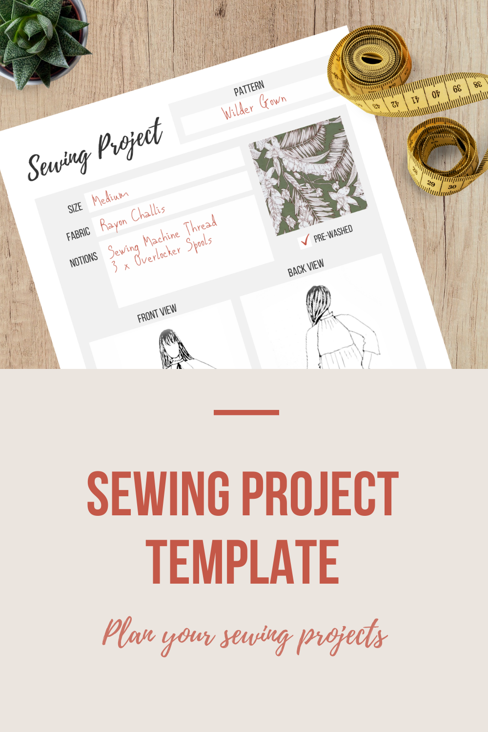 Sewing Project Template | Scarlet Stitch